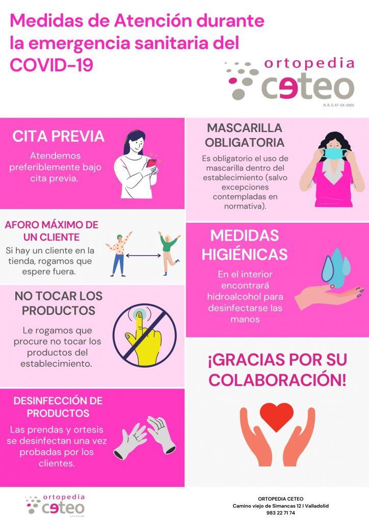 Infografía con las nuevas medidas de atención en Ortopedia CETEO