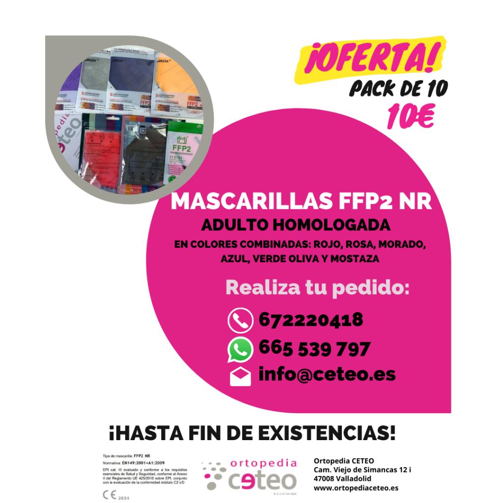 Mascarillas FFP2 de adulto homologadas de colores combinables 10€ 10 unidades