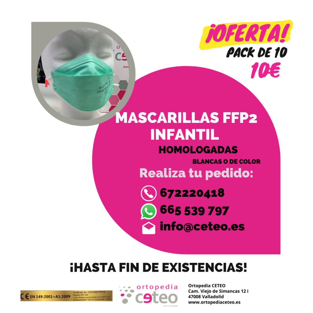 Oferta pack de 10 - 10€ mascarillas FFP2 infantil homologadas blancas o de color